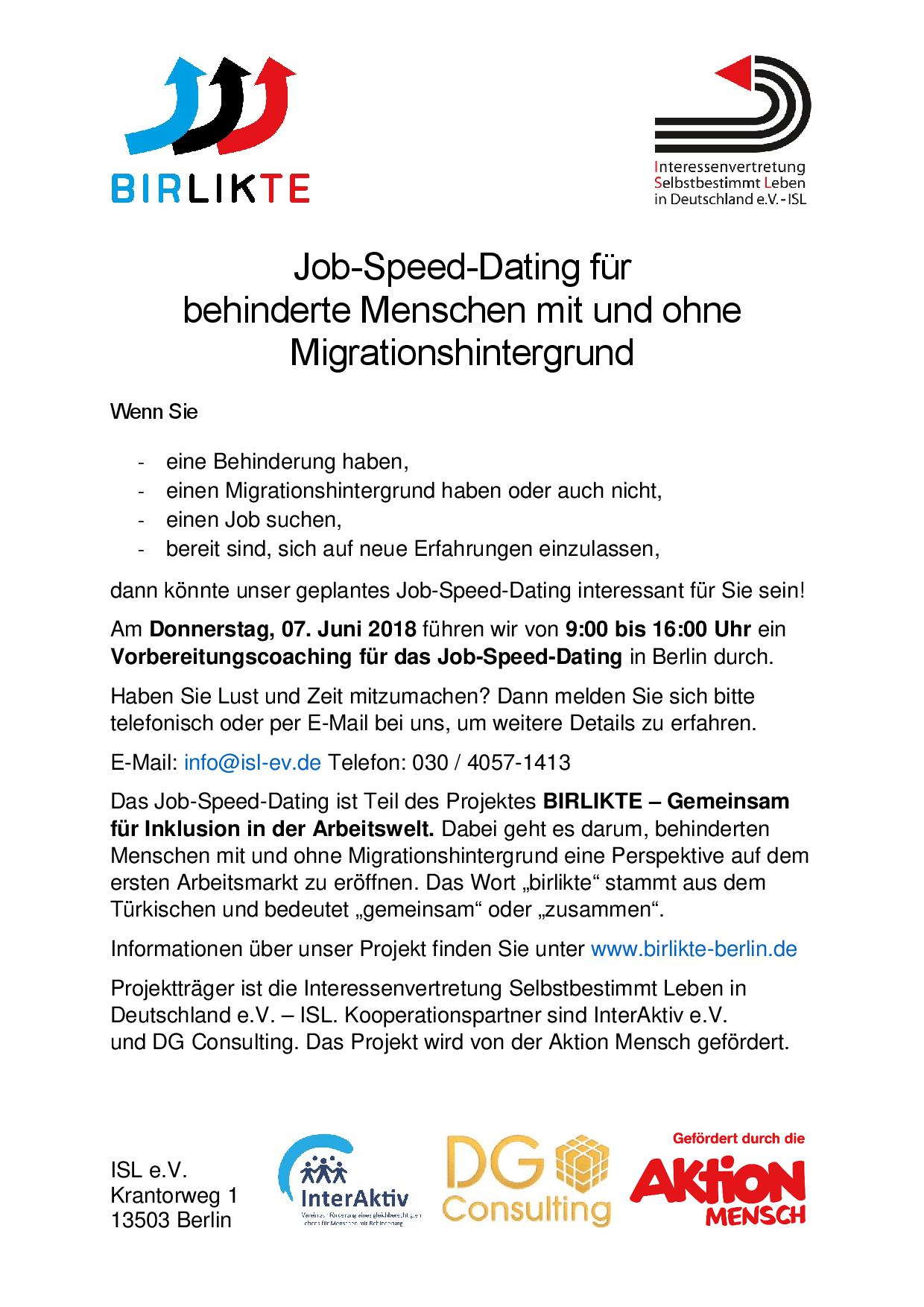 Einladungsflyer Coaching für das Job-Speed-Dating